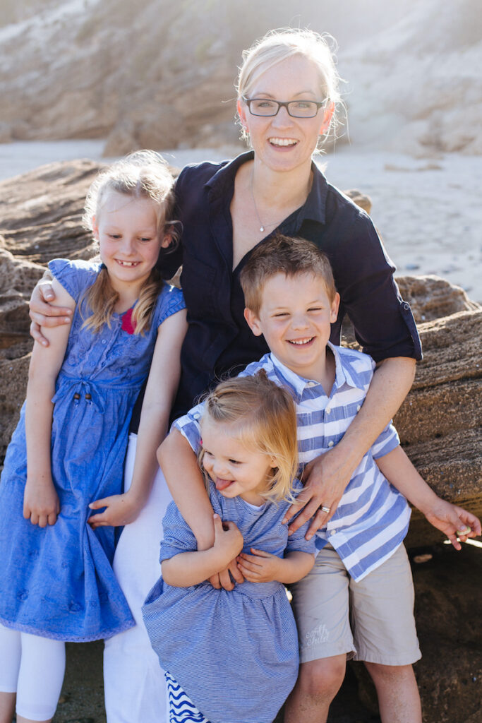 Anna and kids at the beach